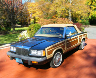 A 1986 Chrysler LeBaron Town & Country convertible equipped with the wire wheel covers shown in the prior two photos.
