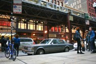 1976, cadillac, seville, elevated train, chicago, l-train