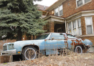An abandoned 1976 Chevrolet Impala coupe in Detroit, 2013.