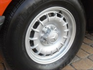 This style of 14-inch aluminum wheel was available on all Mercedes-Benz models through 1985.