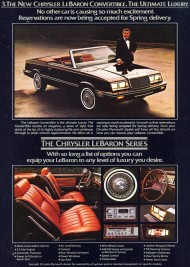 """Chrysler LeBaron convertibles were introduced late in 1981 as '82 models.  """"Reservations are now being taken for spring delivery"""" as the text quotes.  There was no Town & Country version for 1982."""