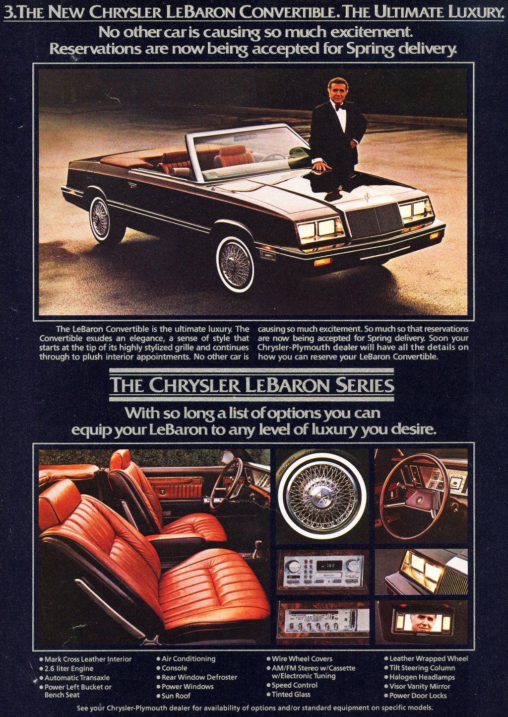 "Chrysler LeBaron convertibles were introduced late in 1981 as '82 models.  ""Reservations are now being taken for spring delivery"" as the text quotes.  There was no Town & Country version for 1982."
