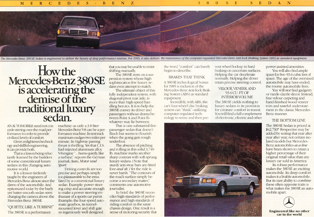 1985 Mercedes 380se Ad Classic Cars Today Online