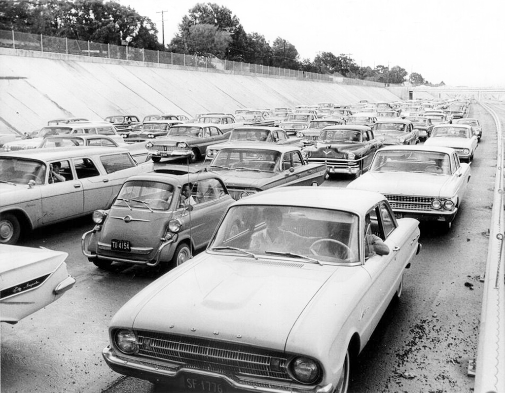 1960s, street scene, highway, traffic jam
