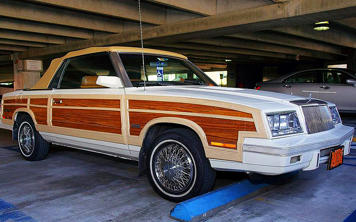 Here, a closer look at front bumper, grille, headlights and wood appearances on 1983 and 1984 LeBaron Town & Country convertibles.  (Photo: D. Glazz))