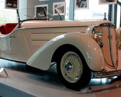 """Initially presented early in 1933, the Audi Front 220 was Europe's first car to combine front-wheel drive with a 6-cylinder engine. The 2.0-liter engine was replaced by a 2.25-liter one in 1935, and became known as the """"225"""".  The larger-engined car introduced in 1935 continued to be offered until 1939.  The 2.0-litre engine was shared with Auto Union's Wanderer W22 introduced that same year.  (Photo credit: Sean Connor)"""