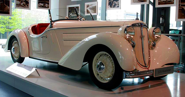 "Initially presented early in 1933, the Audi Front 220 was Europe's first car to combine front-wheel drive with a 6-cylinder engine. The 2.0-liter engine was replaced by a 2.25-liter one in 1935, and became known as the ""225"".  The larger-engined car introduced in 1935 continued to be offered until 1939.  The 2.0-litre engine was shared with Auto Union's Wanderer W22 introduced that same year.  (Photo credit: Sean Connor)"