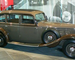 This 1934 Audi FRONT sedan was a short-lived series of front-wheel-drive models badged as Audis, using technology borrowed from DKW after the 1932 Auto Union merger.  (Photo credit: Sean Connor)