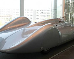 """A reproduction of the The Type C """"Streamliner"""" aero racecar of 1937, which represented the most powerful development stage of the Auto Union 16-cylinder racing car. The Streamliner celebrated its debut at the 1937 Avus Race."""