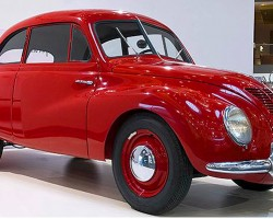 Inspired by aerodynamic design trends of the 1930s, the DKW F9 prototype was targeted toward potential Volkswagen Beetle customers in Germany. Unlike the Beetle, it featured an engine in the front (a 3-cylinder two stroke engine) along with front-wheel-drive, and had an extremely low coefficient of drag for its time (.42 Cd). Originally targeted for production as a 1941 model, World War II intervened and the F9 did not actually see production until 1949-56.  (Photo credit: Sean Connor)