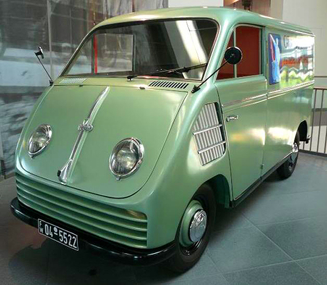 Being the first Auto Union model to see production after WWII, the Schnellaster (Rapid Transporter) van was way ahead of its time. With a transversely mounted front engine, front-wheel-drive, short sloping hood, a flat floor with flexible seating configurations, this van was truly the precursor to the modern compact minivan. However it was anything but rapid when equipped with either a two-stroke 2 cylinder engine of 20 horsepower, or a 3-cylinder engine of 32 horses from 1955 on. Production ran from 1949-62.  (Photo credit: Sean Connor)