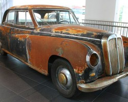 The last Horch vehicle produced was this 1953 sedan, built for the CEO of Auto Union at the time. Recently recovered from Texas after sitting in a field for years, (A U.S. serviceman stationed in Germany purchased it and shipped it home originally), the Audi museum opted to keep it in unrestored survivor condition.  (Photo credit: Sean Connor)