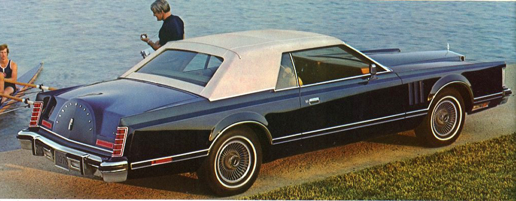 1978, Lincoln, Mark V, navy, carriage roof, fake convertible, white top