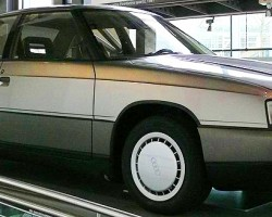 Shown on the vertical rotating lift is an early 1984 styling mockup of the 80 / 90 models that debuted in the United States for 1988.  (Photo credit: Sean Connor)