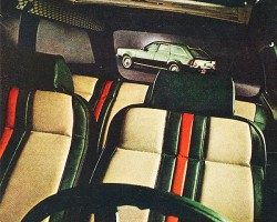 A 1972 advertisement introducing the AMC Gucci Edition wagon. Unlike the Seville, this was an official model offered by the manufacturer.  The option package cost $142.  (Photo credit: American Motors Corporation)