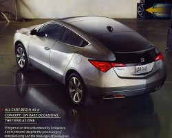 This 2010 ad introduces the sport-utility based Acura ZDX hatchback.  (Photo credit: American Honda Motor Company)