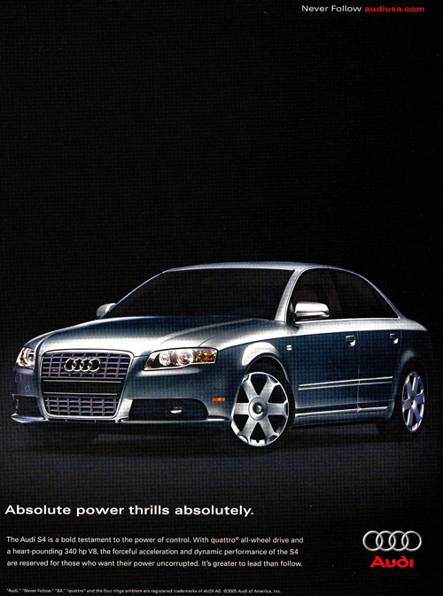 An advertisement for the 2005 Audi S4 sedan.  (Photo credit: Audi Of America)