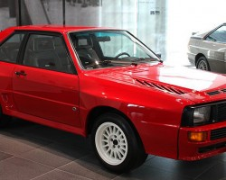 This 1984 Coupe Quattro Sport was built on a shortened wheelbase to reduce weight, and a high-pressure version of the five-cylinder turbo engine produced 408 horsepower. Many racing victories followed.  (photo credit: Sean Connor)