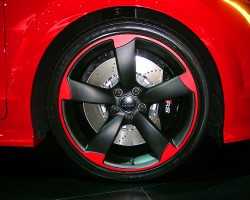 Close up view of the Audi TT RS color matched wheel.  (Photo credit: Sean Connor)