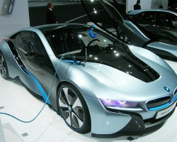 BMWs i8 hybrid sports car concept features a 3-cylinder gas engine and electric power to reach 0-60 in less than 5 seconds.  (Photo credit: Sean Connor)
