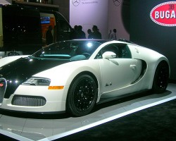 The Bugatti Veyron featured at the auto show has a 16-cylinder engine with four turbochargers that produces 1,001 horsepower.  (Photo credit: Sean Connor)