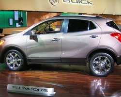 Buick's new Encore compact crossover features a 1.4-liter turbocharged 4-cylinder engine producing 140 hp.  (Photo credit: Sean Connor)