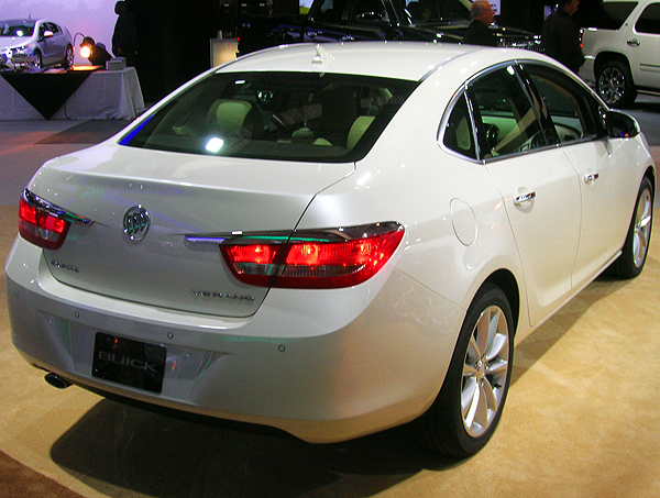 Buick's new compact Verano sedan is based on the Chevrolet Cruze platform, and offers luxury to buyers seeking a smaller, more economic package.  (Photo credit: Sean Connor)