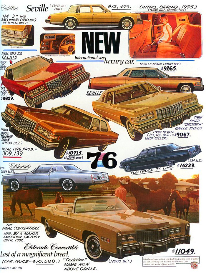 1976 Cadillac Eldorado, Seville, Fleetwood, Calais, Coupe De Ville and Sedan de Ville models are covered.  (Photo credit: Tad Burness)