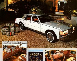 A 1978 magazine advertisement introducing the Seville by Gucci. Note that this was not an official model offered by Cadillac - instead these were outfitted by an English based automotive design firm, and sold through a Miami Cadillac dealer.  (Photo credit: International Automotive Design Inc)