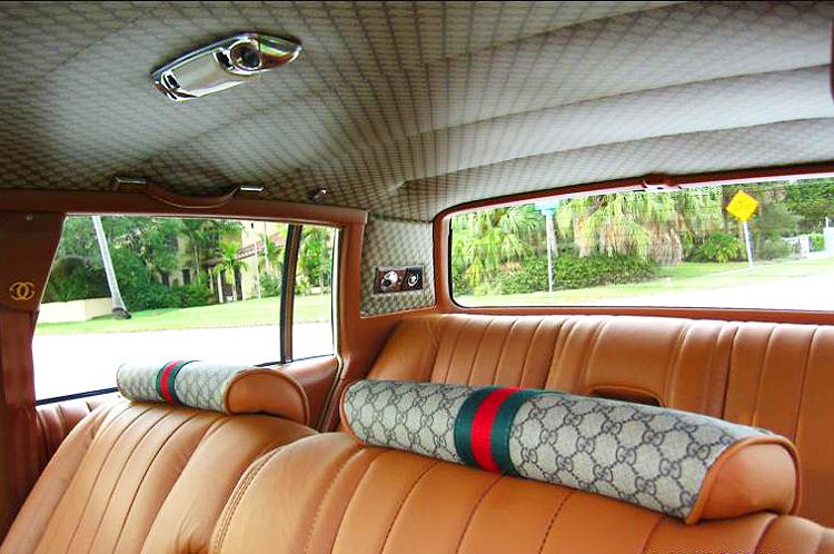 A 1979 Cadillac Seville Gucci interior.  All 1978-79 Sevilles were ordered by Gucci with saddle-colored leather.  (Photo credit: G. Sullivan)