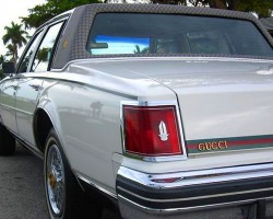 Stripes with the Gucci colors were applied across rear trunklids and hoods.  (Photo credit: G. Sullivan)