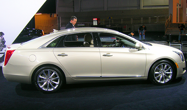 The Cadillac XTS full-size sedan comes on the market later this year with 6-cylinder power and front- or all-wheel-drive.  It replaces the DTS sedan.  (Photo credit: Sean Connor)