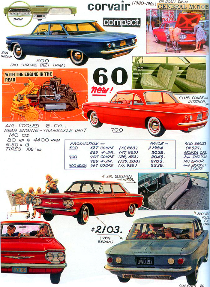 1960 Chevrolet Corvair models, in their first model year of production.  (Photo credit: Tad Burness)