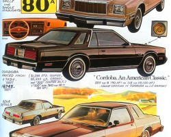 The downsized 1980 Chrysler Cordoba and 1980 LeBaron coupe are detailed.  (Photo credit: Tad Burness)