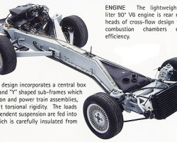 DMC company literature shows the stainless steel vehicle backbone. DMC produces these new for fitting on restored vehicles, and upcoming new ones.  (Photo credit: DeLorean Motor Company)