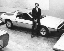 Original company founder and CEO John Z. DeLorean in 1979 with early prototypes of the original DMC-12, produced from 1981-82. (Photo credit: DeLorean Motor Company)