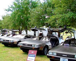 DeLoreans have a strong and loyal owner base, as this club gathering shows.  (Photo credit: DeLorean Motor Company)