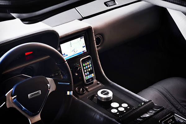 New or restored DeLoreans can be fitted with interiors equipped with satellite radio, ipod interface, navigation system, bluetooth and more. (Photo credit: DeLorean Motor Company)