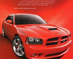 A Dodge Charger SRT8 sedan (2006-2010) advertisement.  (Photo credit: Chrysler Corporation)