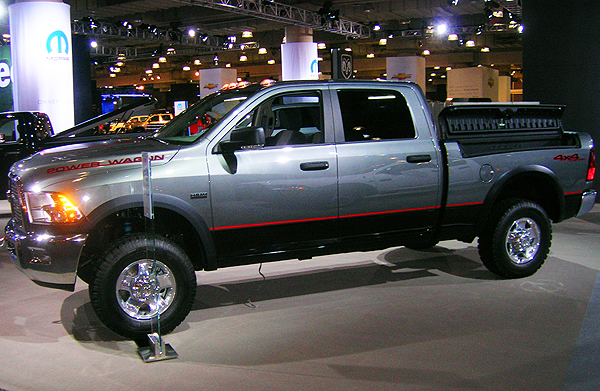 An all new Power Wagon version of the heavy duty Dodge Ram pickup truck is on display this week. Side storage boxes in fenders are a new feature.  (Photo credit: Sean Connor)