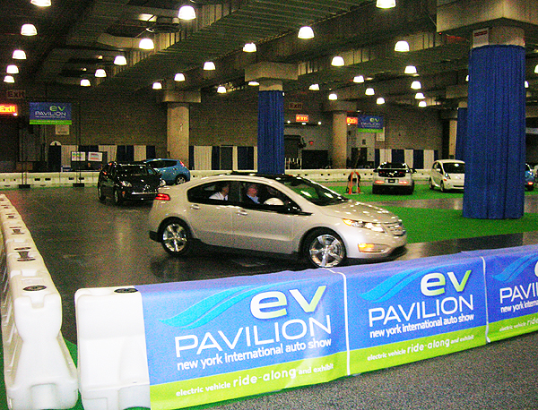 Visitors will have a chance to testdrive a Nissan Leaf, Chevy Volt or Mitsubishi iMiev at the show on a basement level mini track all days during the show.  (Photo credit: Sean Connor )