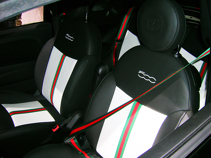An interior view of the Fiat 500 Gucci Edition.  (Photo credit: Sean Connor)