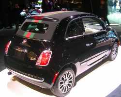 Timeless appeal: The recently released Fiat 500 Gucci Edition shown at the 2012 New York auto show.  (Photo credit: Sean Connor)