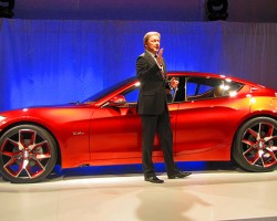 California-based Fisker Automotive Group unveils their second hybrid model, the Atlantic, at the NY show. Their original Karma model will also be on display.  (Photo credit: Sean Connor)
