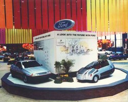 "Much like auto shows of 2012, this 1982 Ford display touts electric cars as ""the future""."