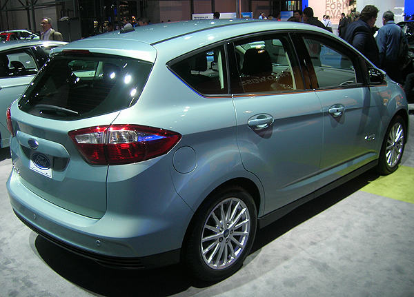 Ford displayed its C Max hybrid vehicle at the New York auto show.  (Photo credit: Sean Connor)