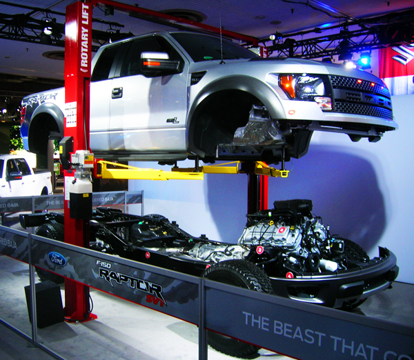 Ford's Raptor pickup truck on display.  (Photo credit: Sean Connor)