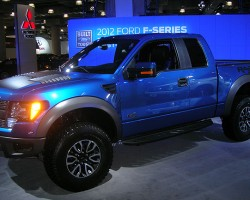 "A better look at the Ford Raptor pickup truck, designed for ""fast off-roading"".  (Photo credit: Sean Connor)"
