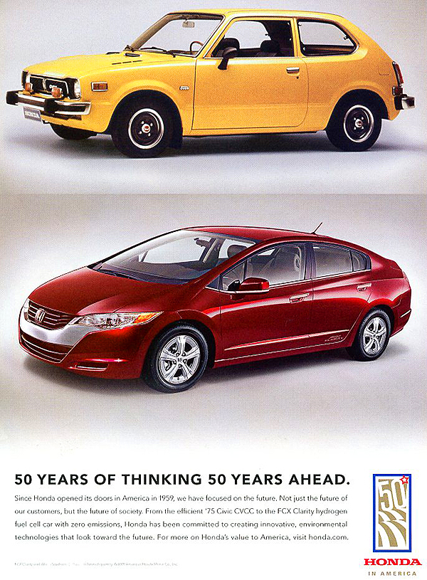 Honda advertises its 2009 FCX Clarity concept car, powered by hydrogen.  Some say this looks like an Insight on steroids. (Photo credit: American Honda Motor Company)