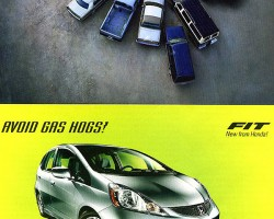 A clever 2009 Honda Fit ad pokes fun at large vehicles that guzzle gas.  From left to right in the above picture are a 1990s Cadillac Fleetwood, '90s Chevy pickup truck, early-'80s Lincoln Mark VI, '90s Chevy Suburban, and '80s Ford Econoline van.  What Honda ought to realize is that all of these designs can be identified from above, while the misshapen Fit could not possibly be.  (Photo credit: American Honda Motor Company)